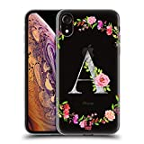 Head Case Designs Letter A Decorative Initials Soft Gel Case and Matching Wallpaper Compatible with Apple iPhone XR