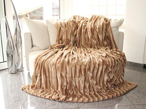 Brandsseller Doppelseitige Pelzimitatdecke (220 x 240 cm, beige)