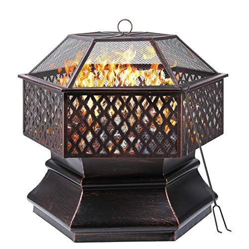 Femor Fire Bowl, 66 x 66 x 63 cm, 26 Inch Hexagonal Fire Pit, Garden, Fire Basket with Grill Grate, Spark Guard Grate, Poker & Charcoal Grate, for Heating/BBQ, Fire Bowls for the Garden, Beach, Patio