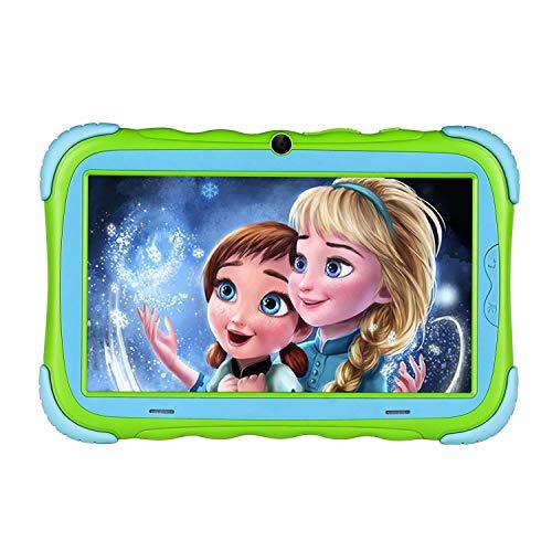 Kindertablet, 7 Zoll Kinder Tablet Pad Lerntablet für Kids, 1GB + 16 GB, IPS-Touchscreen, WiFi, Bluetooth & Google Play, Dual-Kamera mit kindgerechte Silikon Hülle Tablet (Grün)