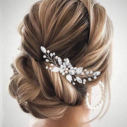 Vakkery - Horquillas para el pelo de novia con cuentas plateadas con...