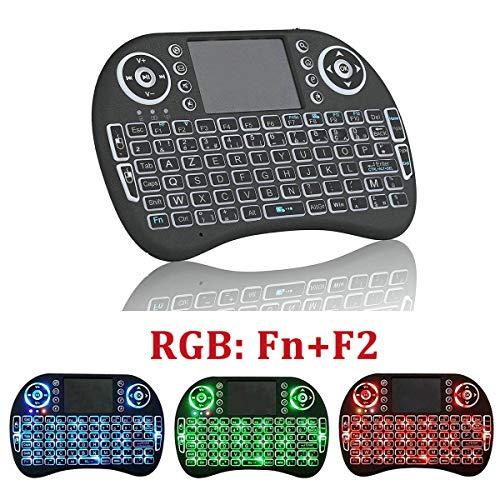 Mini Clavier sans Fil AZERTY 2.4G Retro-éclairé Français avec Souris Touchpad Télécommande Gamer RGB pour Smart TV, Android TV Box, PC, HTPC, IPTV, Console, Ordinateur, Projecteur, XBO X360, PS3 -Noir