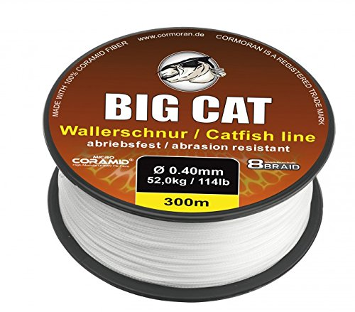 Cormoran Big Cat Wallerschnur (300m / weiß / 8 Fach rundgeflochten), Durchmesser:0.40mm
