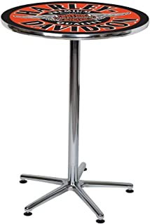 HARLEY-DAVIDSON Winged Bar & Shield Round Cafe Table - Black & Orange HDL-12328