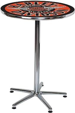 Harley-Davidson Winged Bar & Shield Round Cafe Table - Black & Orange HDL-12328
