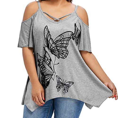 VEMOW Sommer Elegante Damen Große Größe Frauen Schmetterling Druck Oansatz Schwarz T-Shirt Kurzarm Casual Täglichen Party Tops Bluse rückenfrei Pullover(Grau, 48 DE/XXL CN)