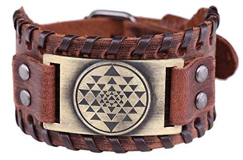 fishhook Mandala Buddhism Hindu Sri Yantra Bangle Amulet Talisman Leather Bracelet (Bronze,Brown)