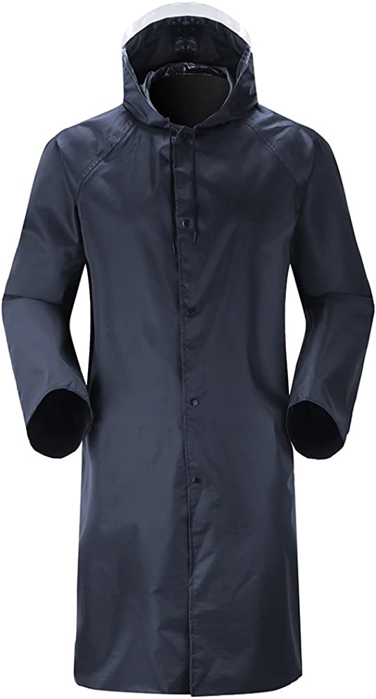 Insun Men's Long Raincoat with Hood Waterproof Lightweight Long Rain Jacket