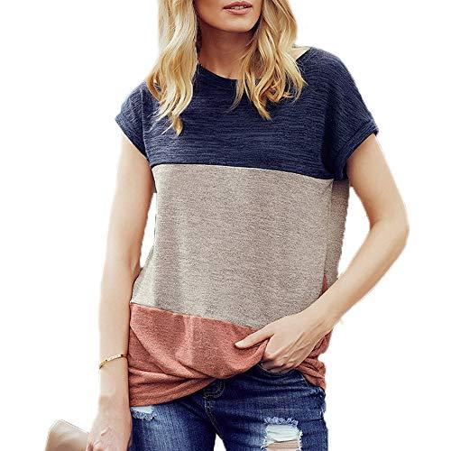 BEECM - Blusa de manga corta para mujer azul S