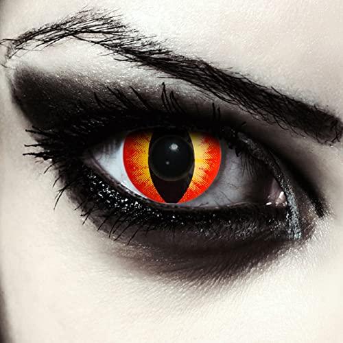 Rote farbige Katzen Kontaktlinsen ohne Stärke für Halloween Karneval Katzenaugen Farblinsen in rot Design: Red Star Cateye