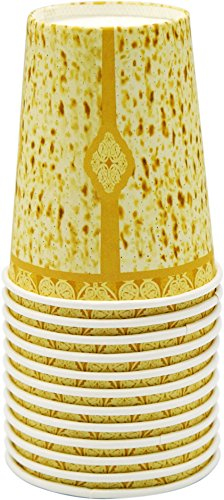 Passover Matzah Design Paper Goods Party Set (Matzah Design Cups, 24-Pack)
