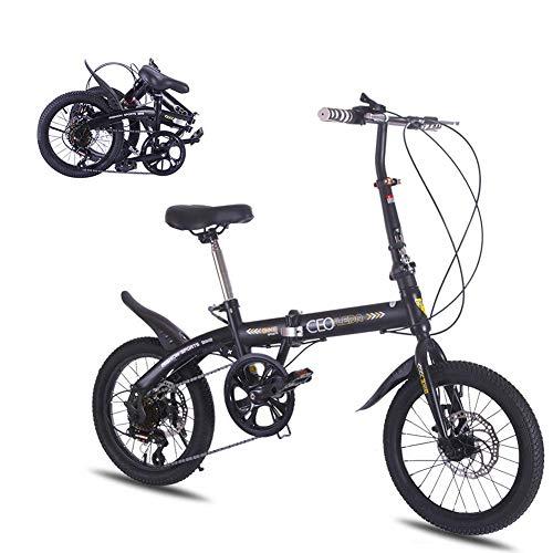 WGFGXQ 16 Zoll Faltrad Aluminiumrahmen mit Variabler Geschwindigkeit Scheibenbremse Student Compact Bike