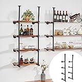 Pipe Shelves,Pipe Shelf Bracket,Bar Shelves,Industrial Shelves,Brackets for Shelves, Industrial Pipe Shelving,Wall Mounted Pipe Shelf (58.7''H x 12''D x 2PCS, No Planks)