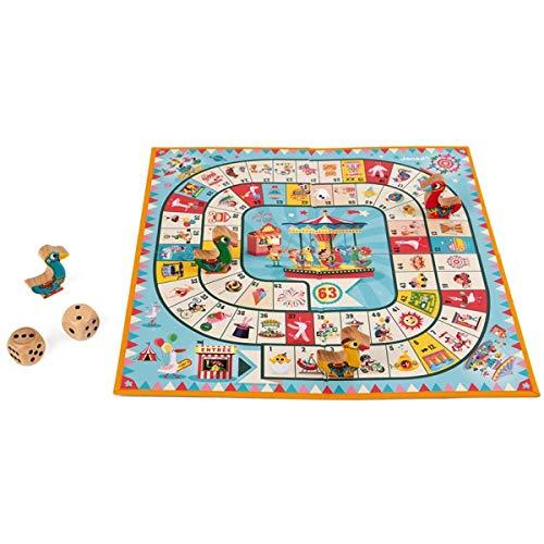 Janod - J02743 - Juego de la oca con diseño de tiovivo, juego familiar con figuritas de madera para niños a partir de 4 años