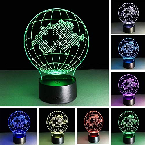 Teenage Boy Gifts Christmas Gifts Gaming Lights 3D Lamp 7 Color Gradient Switzerland Map RGB Led Night Kids Led Table Table Lampara Baby Nightlight Child Bedroom Decor with Remote Control