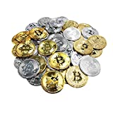 50Pcs Bitcoin Coin, Gold Silver Plastic BTC Limited Edition Collectible Coin Physical Blockchain Cryptocurrency Original Commemorative Tokens Chase Coin for Party