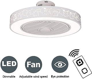 PPAMZ Dormitorio Ventilador de Techo Lámpara de Techo, con Luz y Mando a Distancia, Ventilador Silencioso Lámpara de Techo LED, Regulable Ventilador Invisible, Cuarto de Estar Plafón Fan 80W,A