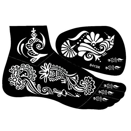 JUSTFOX - Henna Tattoo Schablone für den rechten Fuß