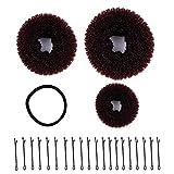 XDLink Accessori da parrucchiere, 3 pezzi, ciambella per chignon (grande, medio, piccolo), 1 fascia e 20 forcine per capelli