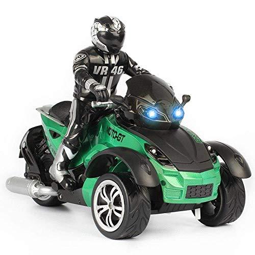 Llpeng 10.01 3-Wheeled ATV Ready-to-Run-Motorrad-Tricycle Geländewagen 2.4G Fernbedienung Auto-High-Speed-Racing-Spielzeug-Kind Erwachsener Kind Metallkleinkinder Metal Racing (Color : Green)