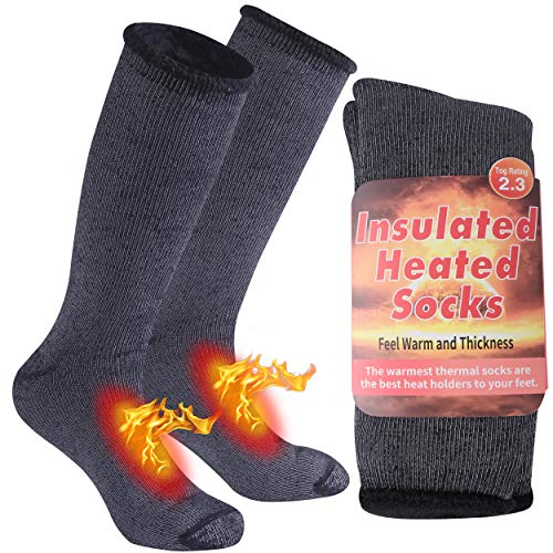 Black Thermal Socks, Time and River Winter Heavyweight Cold Weather Socks Mens Womens Outdoors Work Boot Heated Socks Thick Warm Soft Insulated Socks for Hiking Snowboarding Ski Socks 1 Pack Black, M