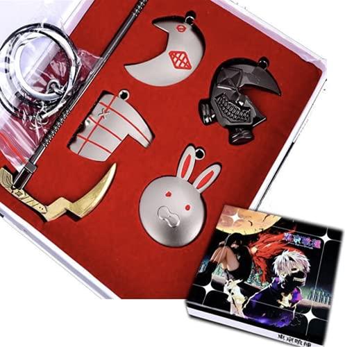 GUGUBU Collier et porte-clés avec pendentif en forme de masque de Tokyo Ghoul Ken Kaneki dans une boîte cadeau