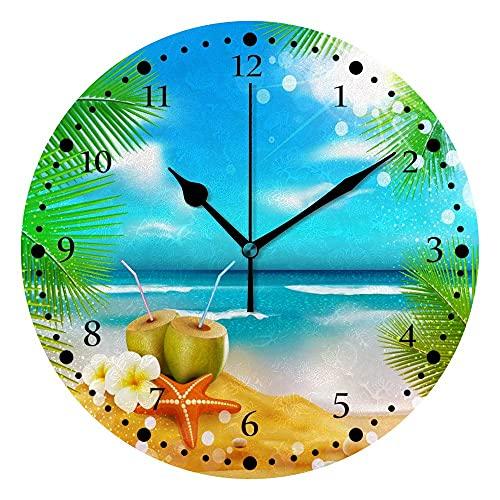 Reloj de Pared silencioso Sin tictac Operado de batería Mareo Mar Vacaciones Vacaciones Estrellas Starfish Decoración Inicio Oficina Dormitorio Sala de Estar Reloj de Silencio