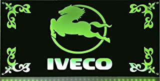 IVECO LED Leuchtschild 60x30cm ✓ LKW Rückwandschild ✓ Ideale Geschenkidee ✓ LED Beleuchtung ✓ Lasergraviert | Edles LED Schild als Truck Accessoire | Beleuchtetes IVECO Logo Schild für den 24Volt Anschluss
