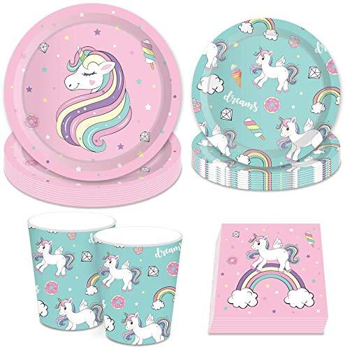 Suministros de Fiesta de Unicornio BESTZY 68PCS Vajilla Desechable Cumpleaños Unicornio Kit...