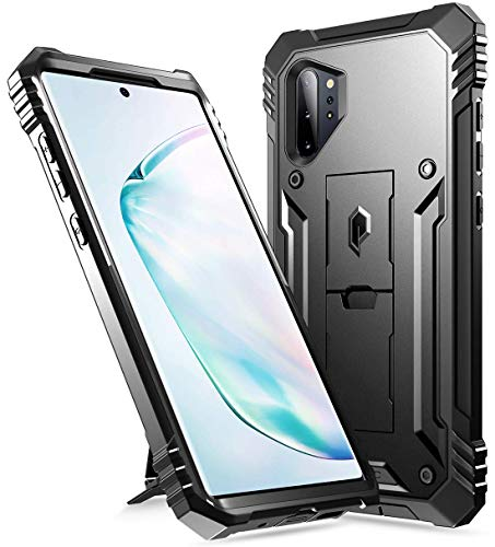 POETIC Galaxy Note 10 Plus Hülle mit Ständer, Schockresistente Schutzhülle, ohne Integriertem Bildschirmschutz, Revolution-Reihe, Hülle für Samsung Galaxy Note 10+ Plus 5G, Schwarz