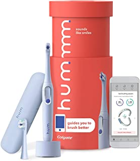 hum by Colgate Smart Electric Toothbrush Kit, Rechargeable Sonic Toothbrush with Travel Case and Replacement Head, Blue