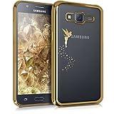 kwmobile Funda compatible con Samsung Galaxy J5 (2015) - Carcasa de TPU con diseño de hada en dorado / transparente