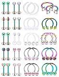 Hoeudjo 16G Surgical Steel Lip Rings Clear Diamond CZ Labret Studs Tragus Horseshoe Ring Helix Hoop Earring Body Jewelry Piercing Retainer for Women Men Rainbow
