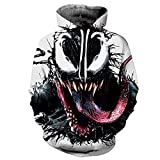 GJZhuan Boys Venom Pullover Sudadera De Otoño para Hombre Juvenil Spiderman Chándales Avengers Disfraz Atlético Unisex con Capucha Superhéroe Jersey Manga Larga,White-Adults/S