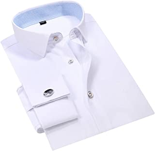 Mens Pleated Tuxedo Shirt French Cuff Formal Dress Shirt Wing Tip Collar
