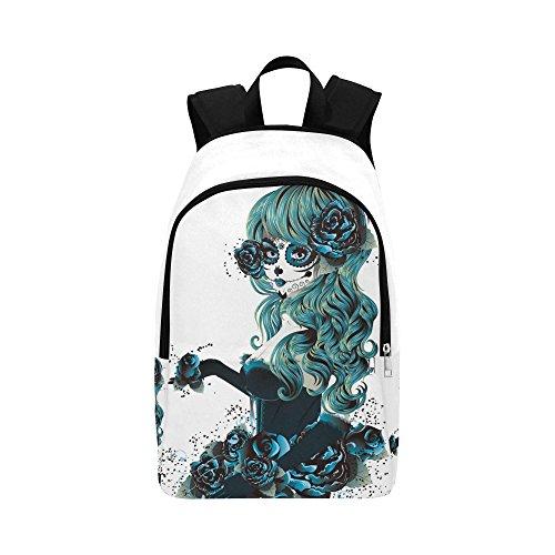 InterestPrint Day of Dead Sugar Skull Girl Rose Custom Casual Backpack School Bag Travel Daypack