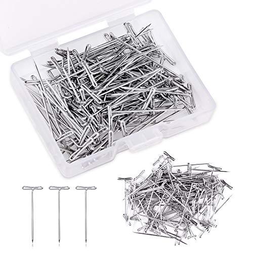 Riddur 100 Stücke Perücke Nadeln Set, 27mm T Nadeln, T-Form Polsterung Nadeln, T Perücke Nadeln mit Aufbewahrungsbox für Perücke Hellstellung, Nähen, Basteln