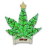 Kurt Adler Marijuana Leaf Get Lit Christmas Tree Ornament - Green Cannabis Pot Leaf with Glittered Christmas Lights Design - Funny Gag Gift Holiday Home or Car Decoration
