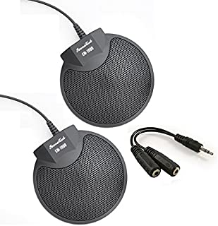 Sound Tech CM-1000 (Pack of 2) Table Top Conference Meeting Microphone with Omni-Directional Stereo 3.5mm Plug & Audio Spliter