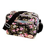 Goddessvan Fashion Women Floral Canvas Crossbody Bag Shoulder Bag Messenger Bag Cosmetic Bag Black