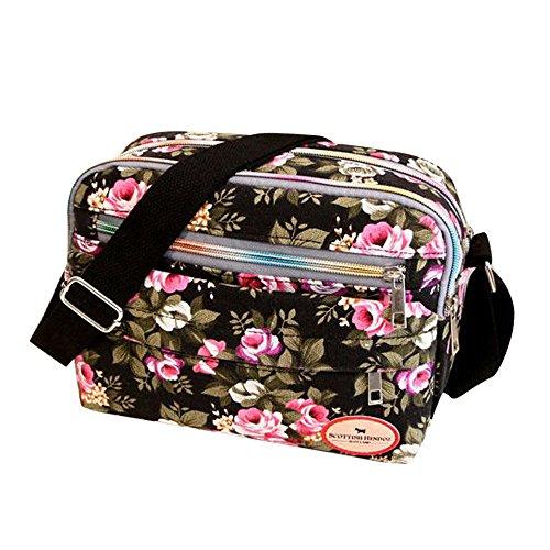 Goddessvan Fashion Women Floral Canvas Crossbody Bag Shoulder Bag Messenger Bag Cosmetic Bag Black