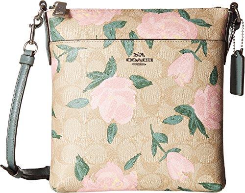 COACH Camo Rose Messenger Crossbody Silver/Light Khaki/Blush One Size