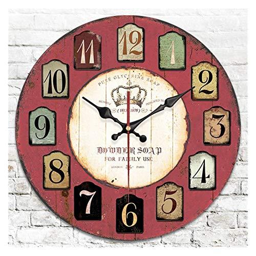 ZHANGNING Décor horloges 12 Pouces Murale Rustique Horloge rétro Bois décoratif horloges Slips sans Ticking, pour Salon Ferme déco Horloge Murale Vintage (Size : 12inch)