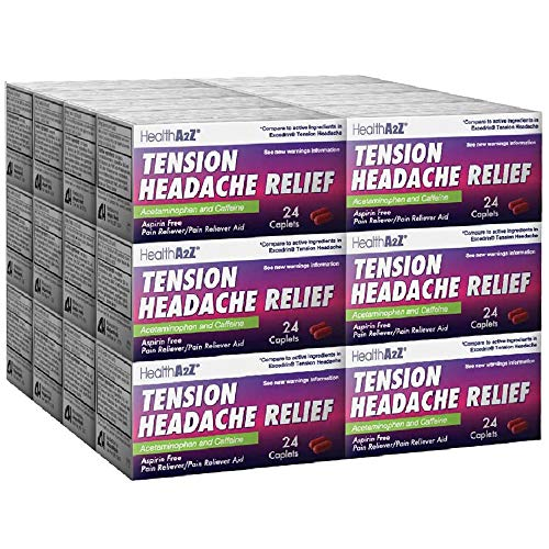 HealthA2Z Tension Headache Relief, Aspirin Free, Compare to Excedrin Active Ingredient, 24 Packs of 24 Caplets(576 Caplets Total), Value Package