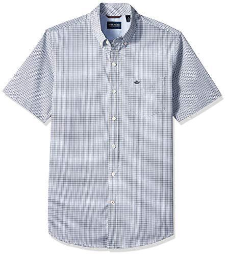 Dockers Camisa flexible de manga corta con botones para hombre -  Azul -  Small