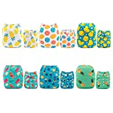 Paquete de 6 pañales de tela lavables y ajustables, de Alva Baby, con 12 inserciones, de bolsillo blanco set 6DM05 Talla:All in one