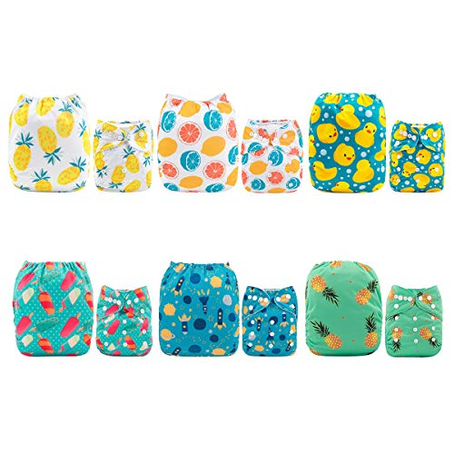 Alva Baby 6pcs Pack Pocket Washable Adjustable Cloth Diapers Nappies + 12 Inserts (Neutral Color) 6DM05