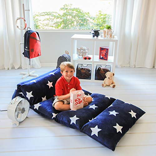 Butterfly Craze Navy & White Stars Pillow Bed Floor Lounger Cover - Perfect for Pillow Recliners & Kid Beds for Reading Playing Games or at a Sleepover or Slumber Party - King Size