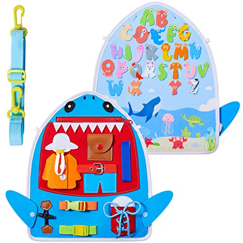 Basumee Toddler Busy Board Sensory Toys for Toddlers Learn Dress and Alphabet Educational Toy Gift for Baby Boy Girl 2 3 4 Year Old Kids Activity Board for Airplane or Car Travel
