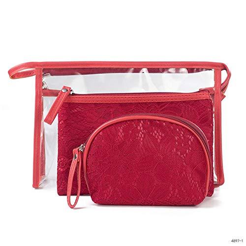 WEMUR Trousse de Toilette Maquillage Cosméticos Bolsa de Viaje Bolsa de Almacenamiento portátil-Plata (Color : Red)